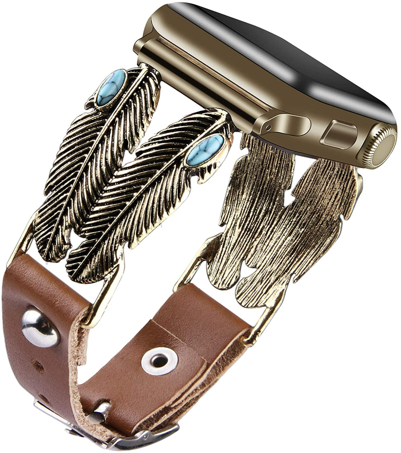 VIQIV Boho Hippie Bands Compatible with Apple Watch 38mm 40mm 42mm 44mm iwatch SE Series 6 5 4 3 2 1 for Women Girls, Fancy Turquoise Studs Leather Cuff Bracelets Metallic Wristband Strap Accessories