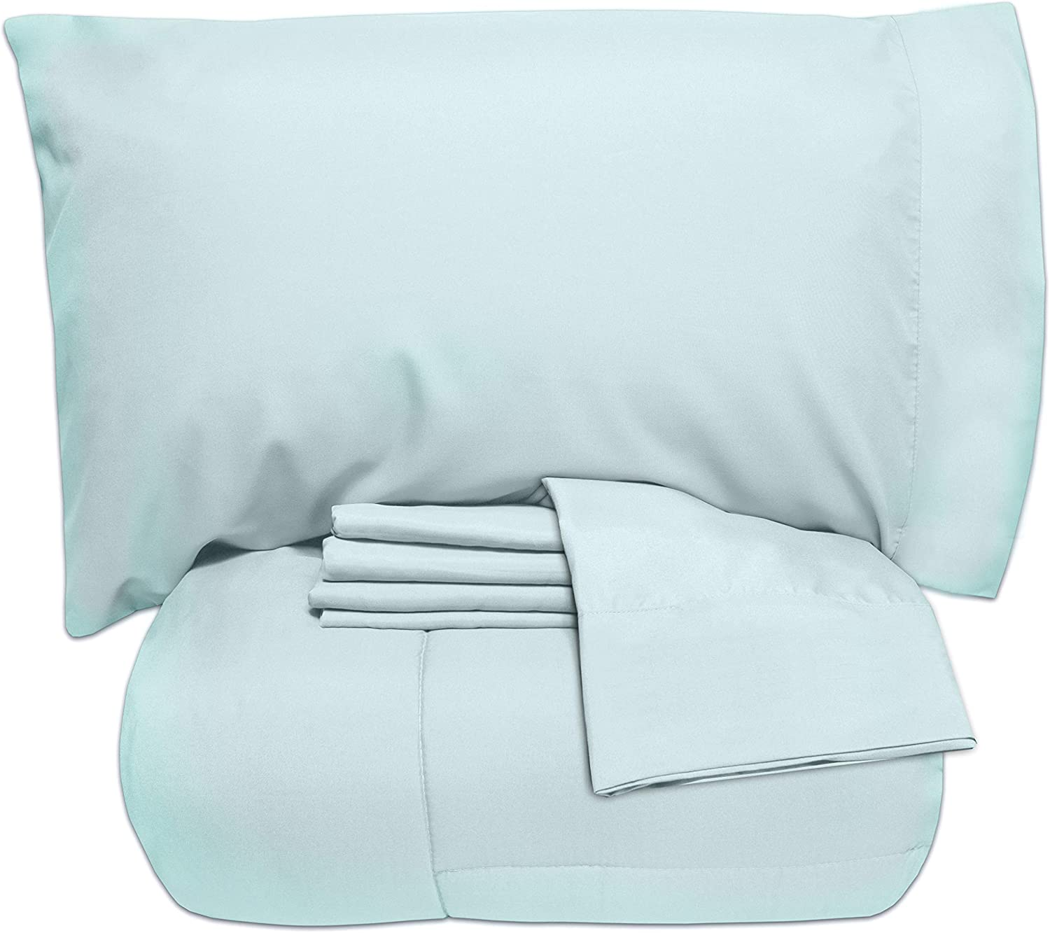 Sweet Home Collection 5 Piece Bag Comforter Set Solid Color All Season Soft Down Alternative Blanket & Luxurious Microfiber Bed Sheets, Twin, Aqua, 7
