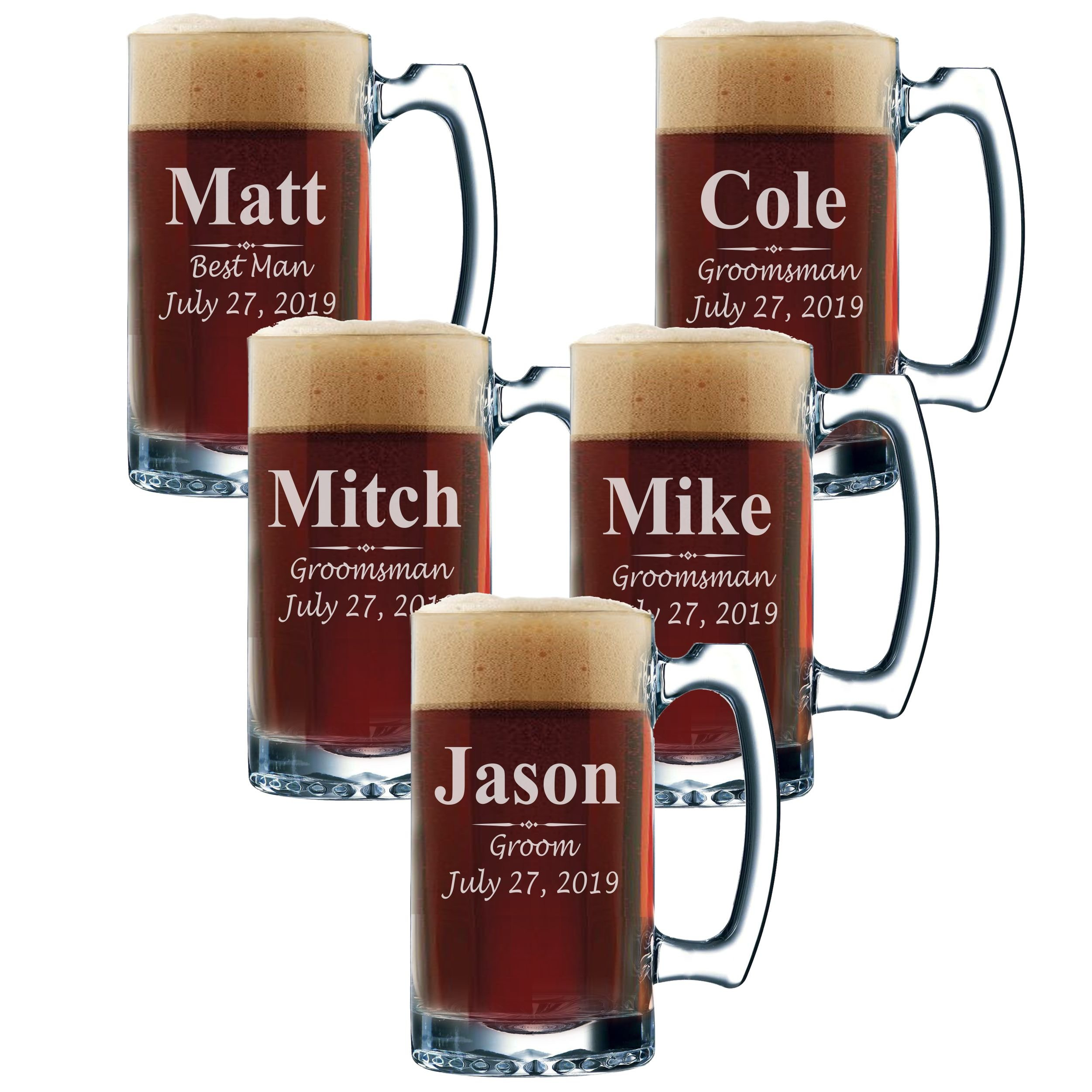 Set of 3, Set of 5 Set of 7 and more Personalized Groomsmen Beer Glasses - Custom Engraved Groom, Best Man Gift Mugs - 3 Lines Style 12 oz (5)