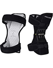 Kyncilor Knee booster, spring super elastic, adjustable two-way knee protection pad, knee compression sleeve strong knee protection, strong support knee joint, joint pain relief, used for sports, walking, climbing, squatting (black)
