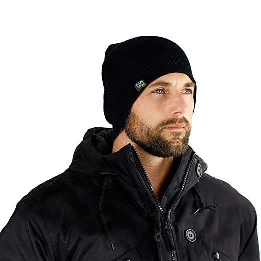 24b38b52b78 Mens Insulated Thermal Fleece Lined Comfort Daily Soft Beanies Winter Hats (Black  Beanie)