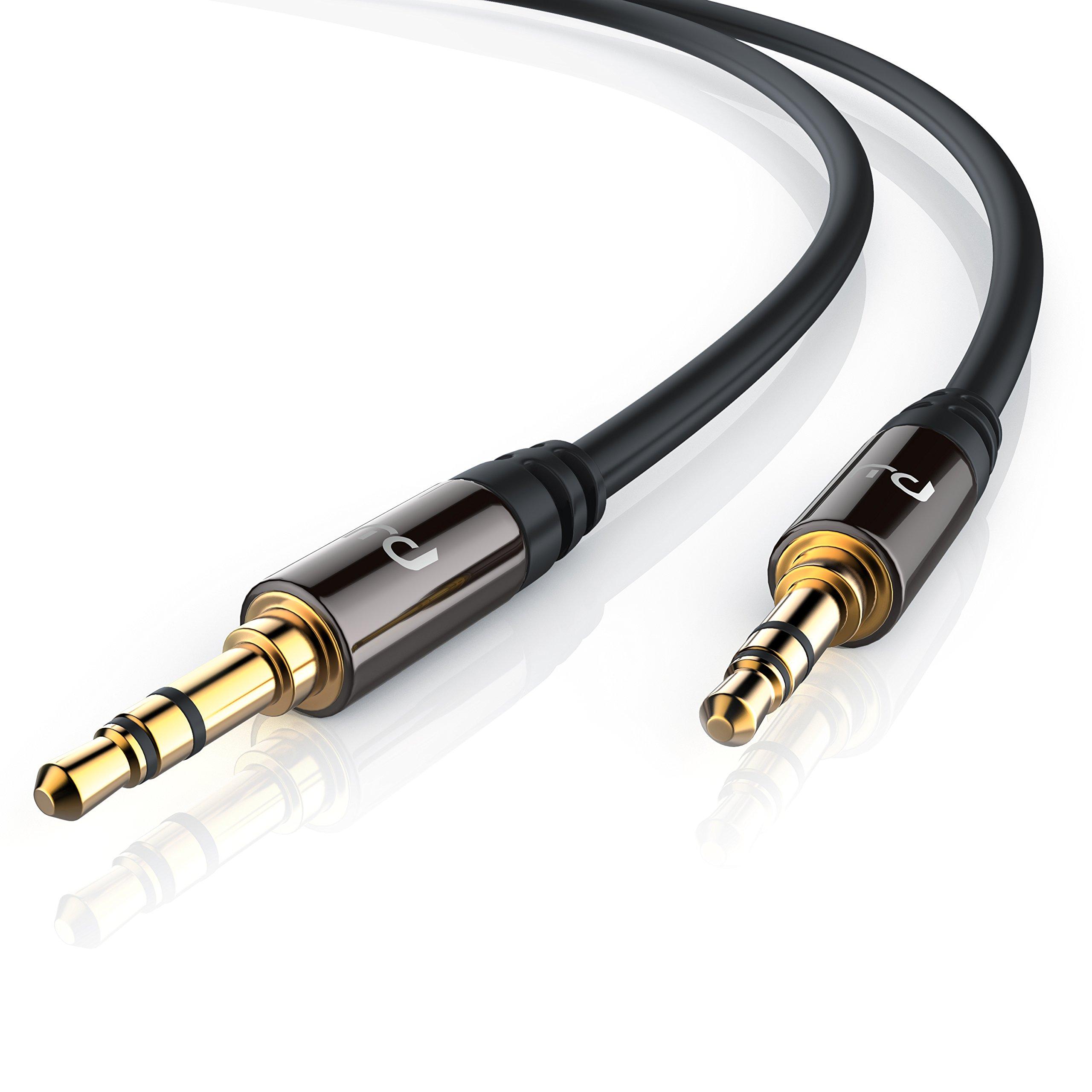 Primewire - 1m Cable Auxiliar de Audio/Cable 3.5mm Jack para entradas AUX | Conector metálico de precisión | Conector 3,5 mm en Enchufe de 3,5 mm | Serie