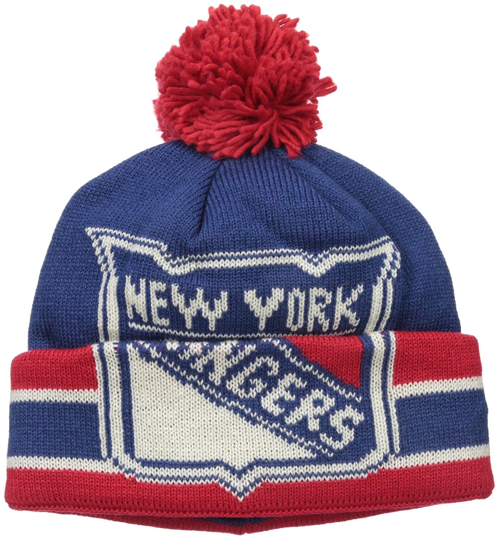 bdb1a0f32da Amazon.com   NHL New York Rangers Men s CCM Cuffed Pom Knit Cap