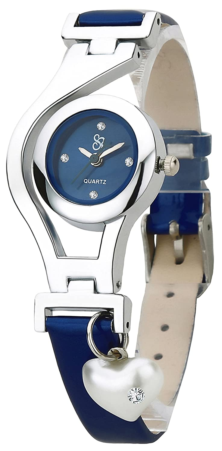 Navy Blue Color Leather Strap Analogue Wrist Watch