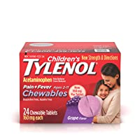 Children's Tylenol Chewables, 160 mg Acetaminophen for Pain & Fever Relief, Grape...