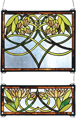Meyda Tiffany 27233 2 Piece Waterlily Stained Glass Window, 21 Width x 26 Height