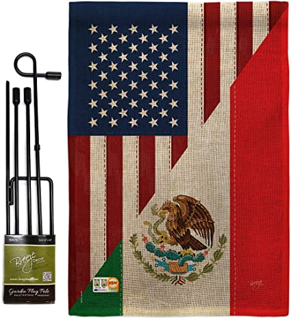 Us Friendship Mexico Garden Flag Set With Stand Regional Usa American Alliance World Country Particular Area Small Decorative Gift Yard House Banner Double Sided Made In 13 X 18 5 Garden