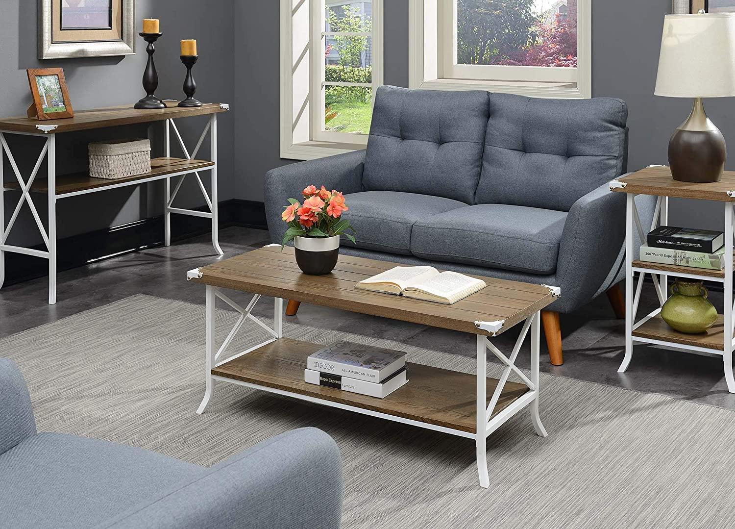 Convenience Concepts Brookline Coffee Table, Driftwood / White