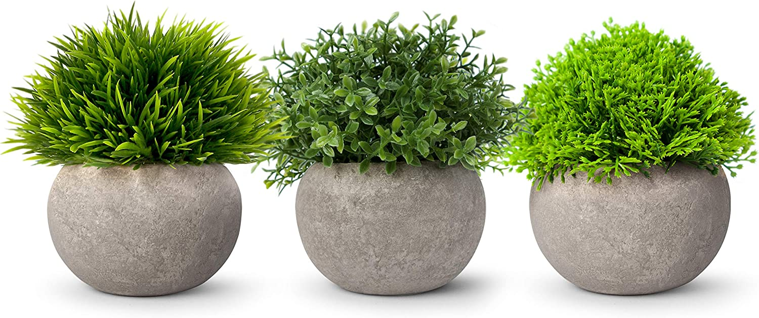RS Sunlight Artificial Potted Plants - Faux Foliage and Flowers - Assorted Small Round Topiary Balls - Set of 3 Mini Plastic Shrubs for Bathroom Office Kitchen Desk Shelf Home Décor (Green)