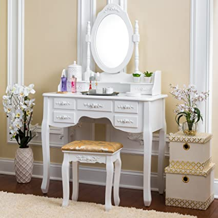 the latest 9ed3a a51e0 Fineboard Vanity Set with Stool & Mirror Makeup Table with 7 Organization  Drawers Single Oval Mirror Make Up Vanity Table Set, White