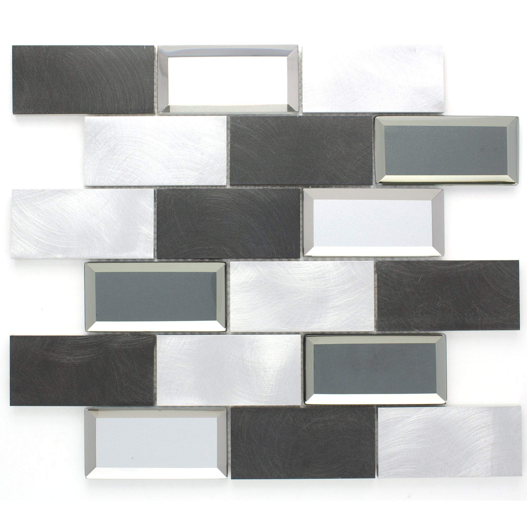 TAFMG-02 2x4 Subway Tile Grey Almiunum Mix Mirror Glass Mosaic Tile-Kitchen and Bath backsplash Wall Tile