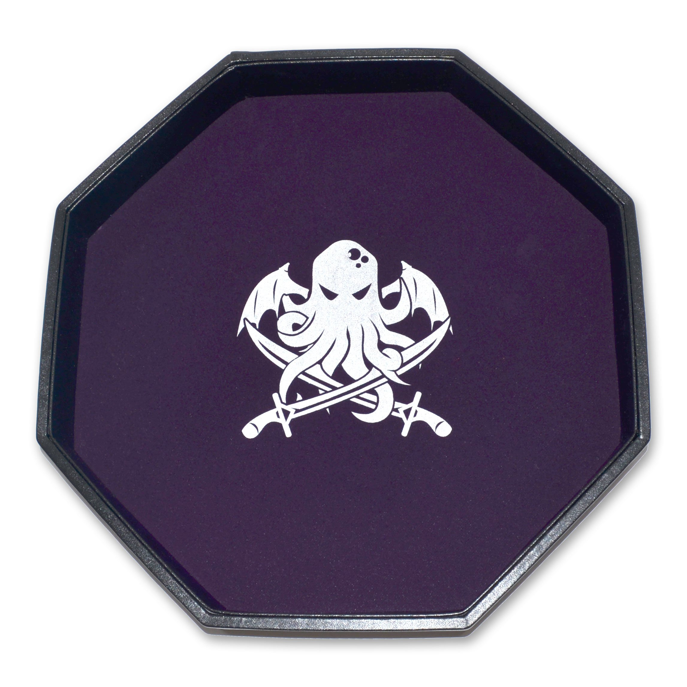 Darksilver Forge Dice Tray - 11.5'' Octagon - Cthulhu's Lair - Purple Felt Liner, Padded Leatherette Walls - for Any Dice or Board Games, Tabletop RPGs Like D&D (DND), Pathfinder Roleplaying Game