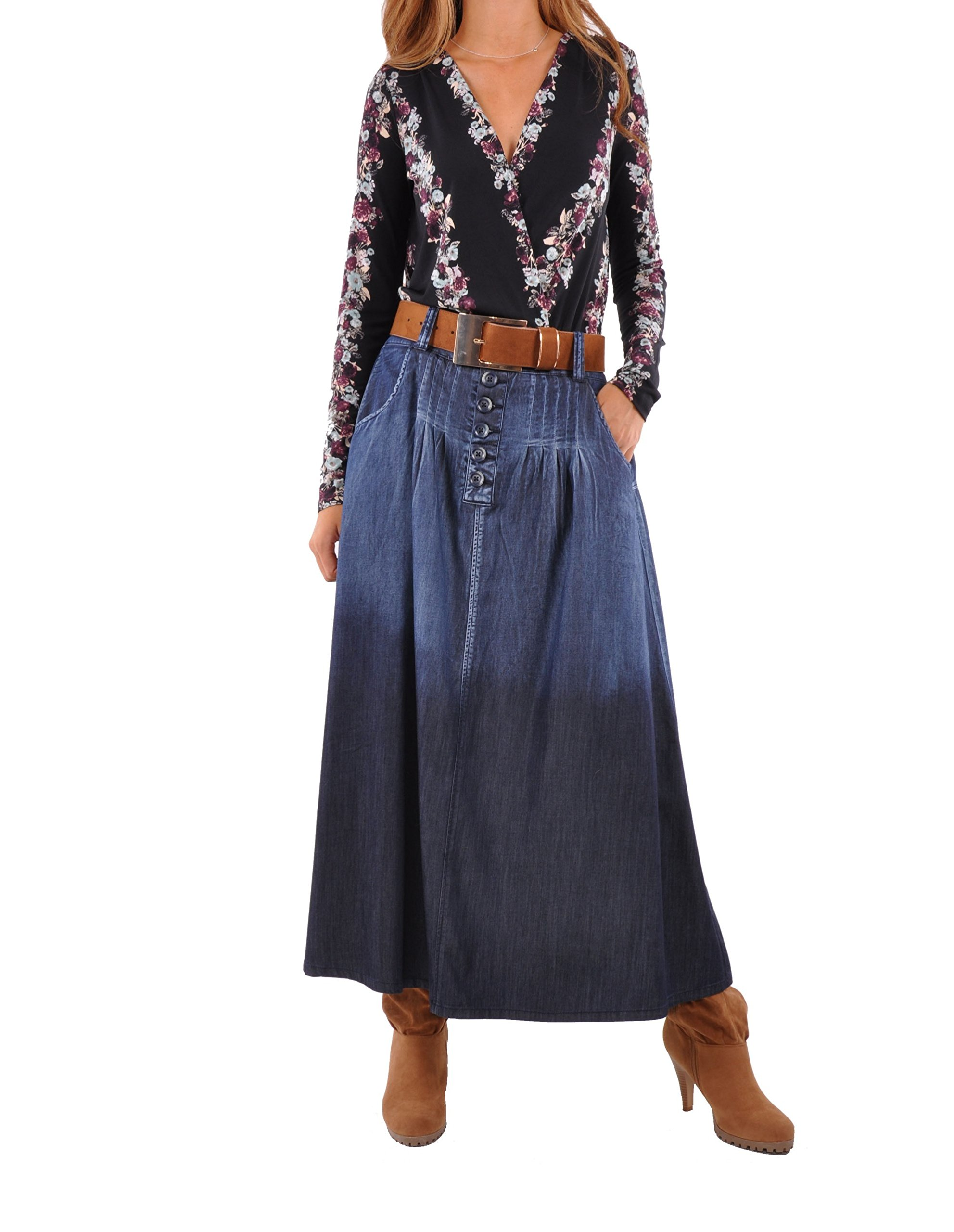 Style J Chambray Chic Denim Skirt-Blue-30(10)