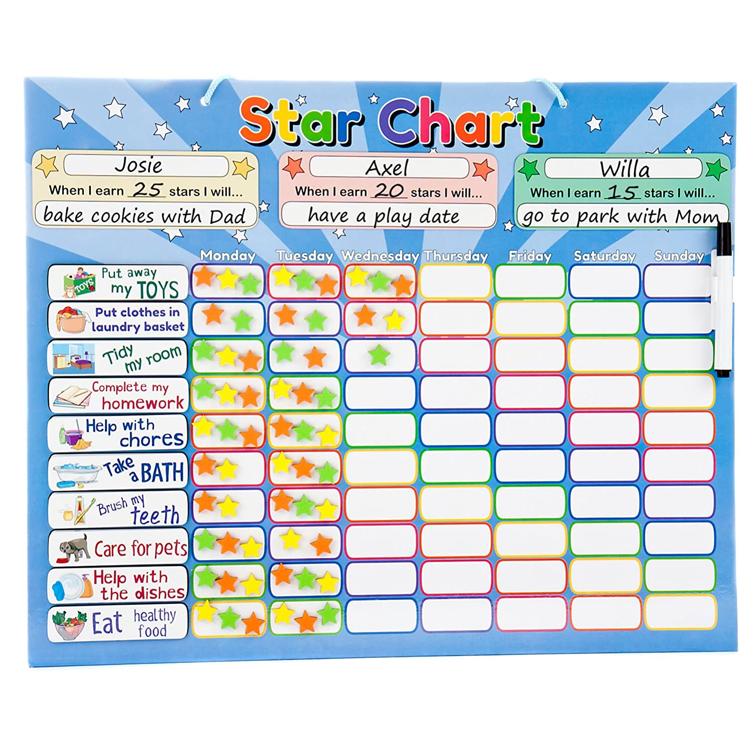 Roscoe Learning Responsibility Star Chart | Customize for 1-3 Kids | Magnetic Chore Reward System