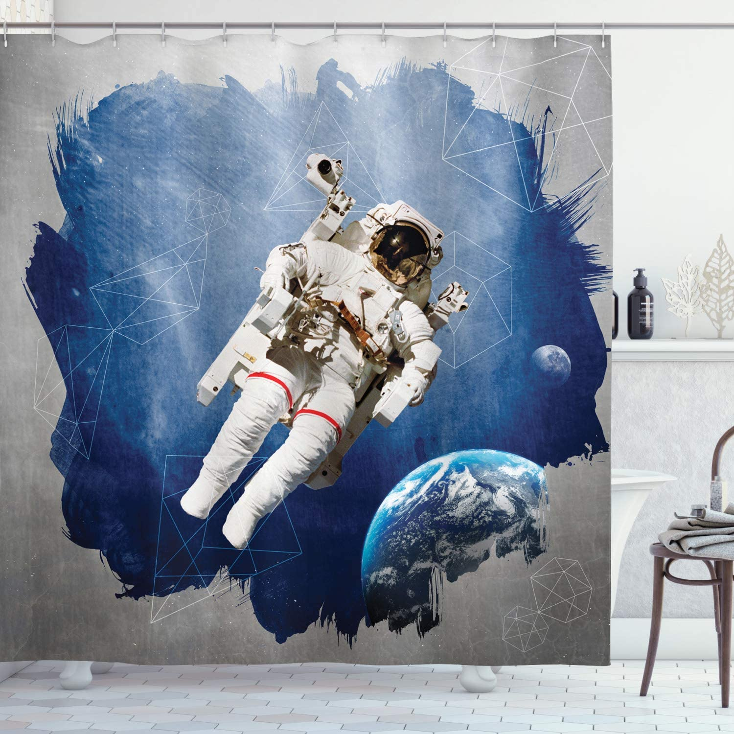 "Ambesonne Outer Space Shower Curtain, Astronaut on The Grunge Half Done with Geometric Brushstroke SciFi Modern Art, Cloth Fabric Bathroom Decor Set with Hooks, 70"" Long, Blue Beige"