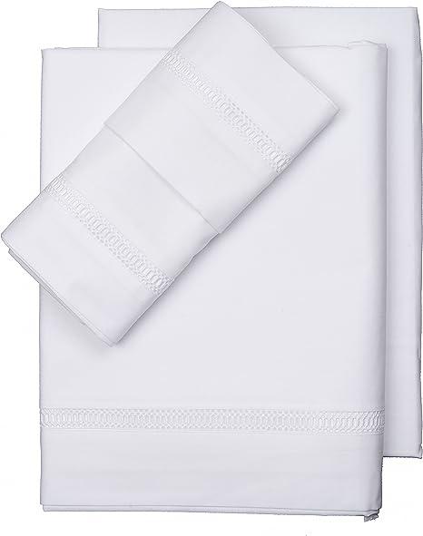 Sandra Marques S.L.-Juego de Sábanas Medici Blanca 100% Algodón (160x280 cm.): Amazon.es: Hogar