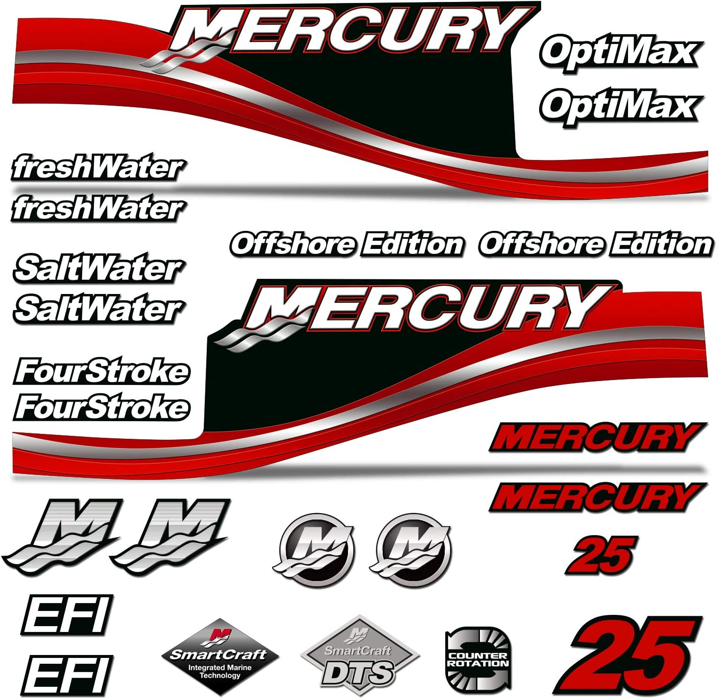 Mercury 50 Four 4 Stroke Decal Kit Outboard Engine Graphic Motor Stickers SILVER