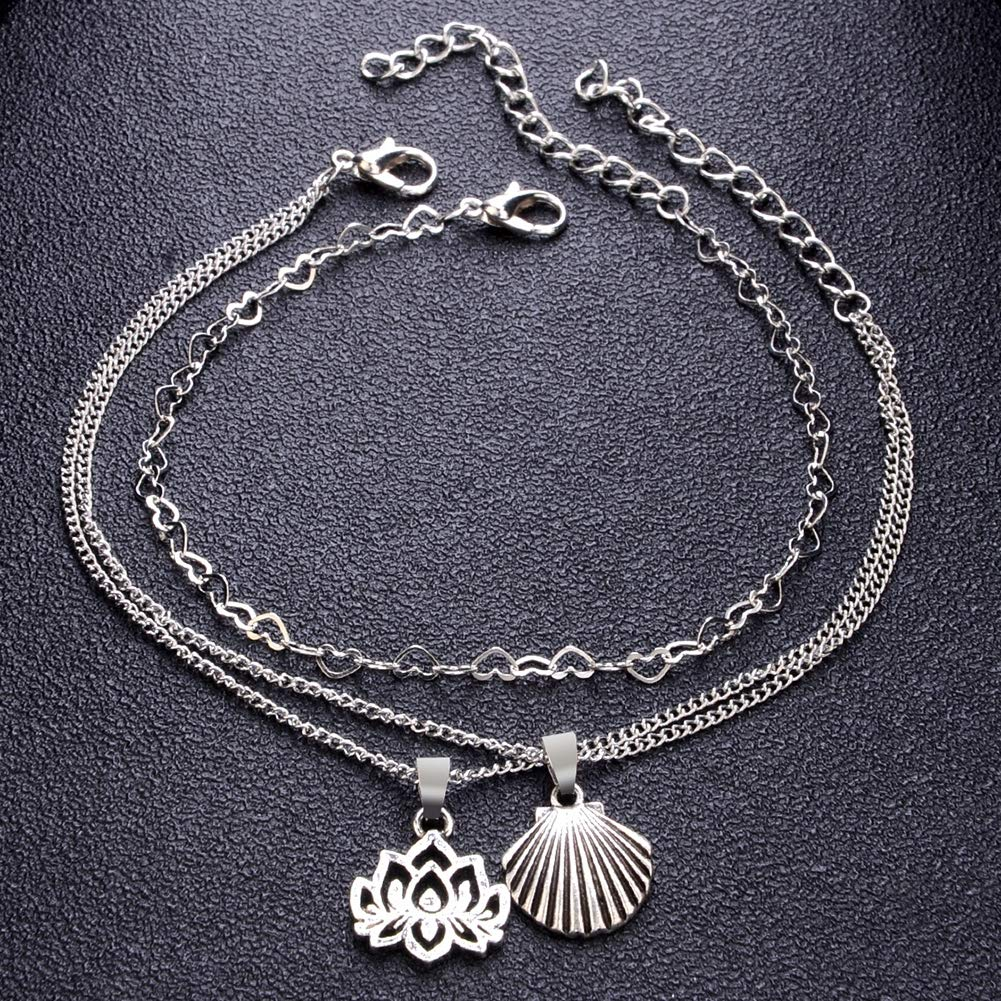 Babasee Vintage Bohemian Multi-layer Pendant Lotus Shell Ankle Chain Beach Anklet