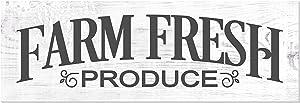 Farm Fresh Produce Distressed White Wood Wall Sign 6x18