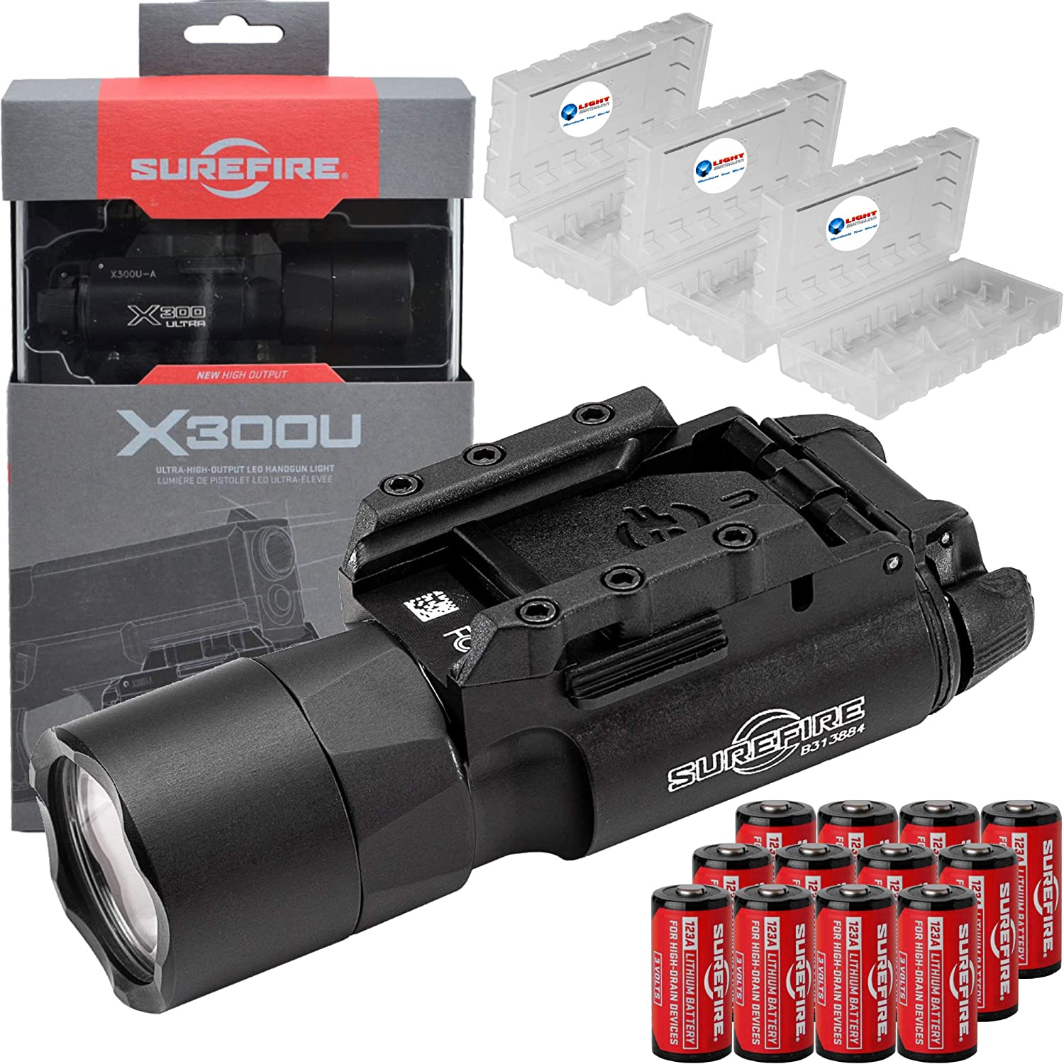 SureFire X300U-A Ultra High Output 1000 Lumens LED Weapon Lightwith 12 Extra CR123A Batteries and 3 Lightjunction Battery Cases