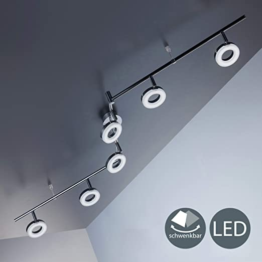 Lámpara LED de techo moderna con focos redondos incl. 6x4W LED ...