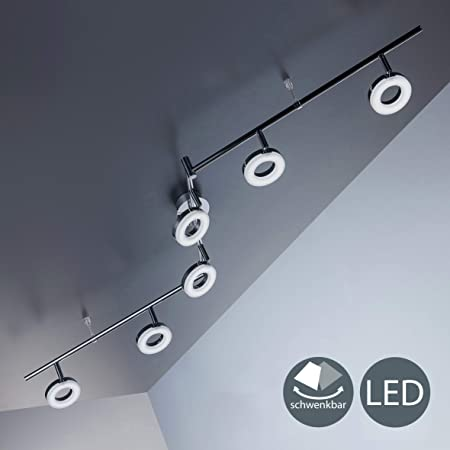 Lámpara LED de techo moderna con focos redondos incl. 6x4W LED 330lm, Orientables y giratorios, Luz blanco cálido 3000K, Color Cromada, 230V IP20