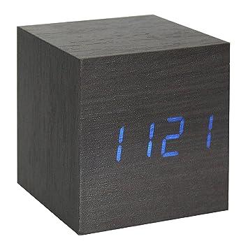 ONEVER Cubo Nuez Haga clic en Reloj Digital LED despertador del escritorio del control de la voz termómetro temporizador calendario (Negro): Amazon.es: ...