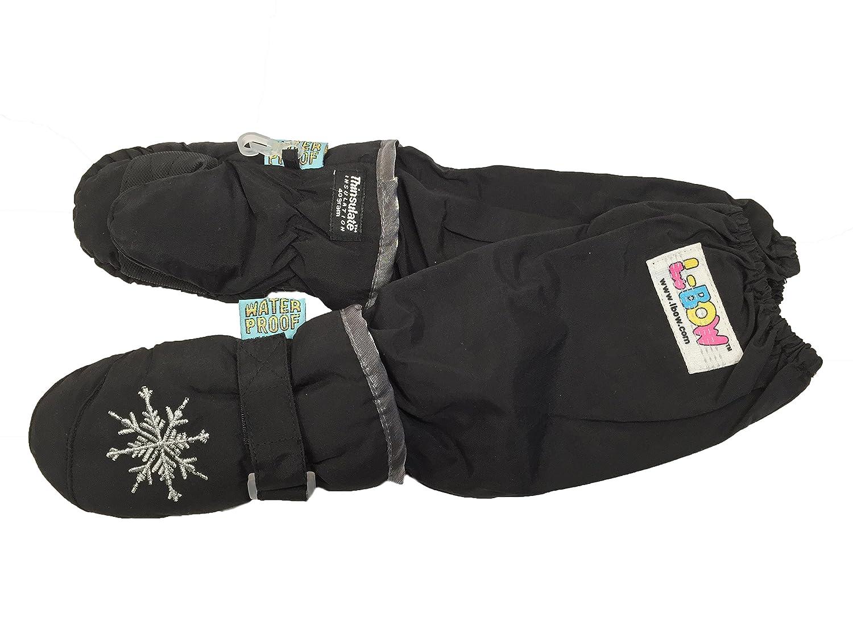 L-Bow Kids Snowflake Cold Weather Waterproof Elbow Length Mittens (Medium (4-7 Yrs), Black)