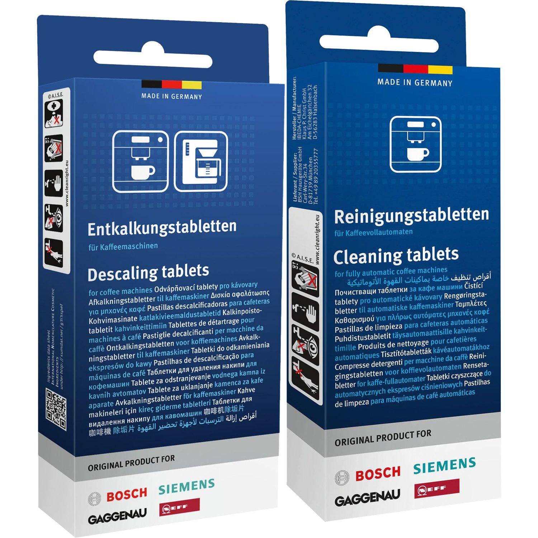 1X Siemens cleaning tablets (TZ80001) + 1x Siemens descaling tablets (TZ80002)