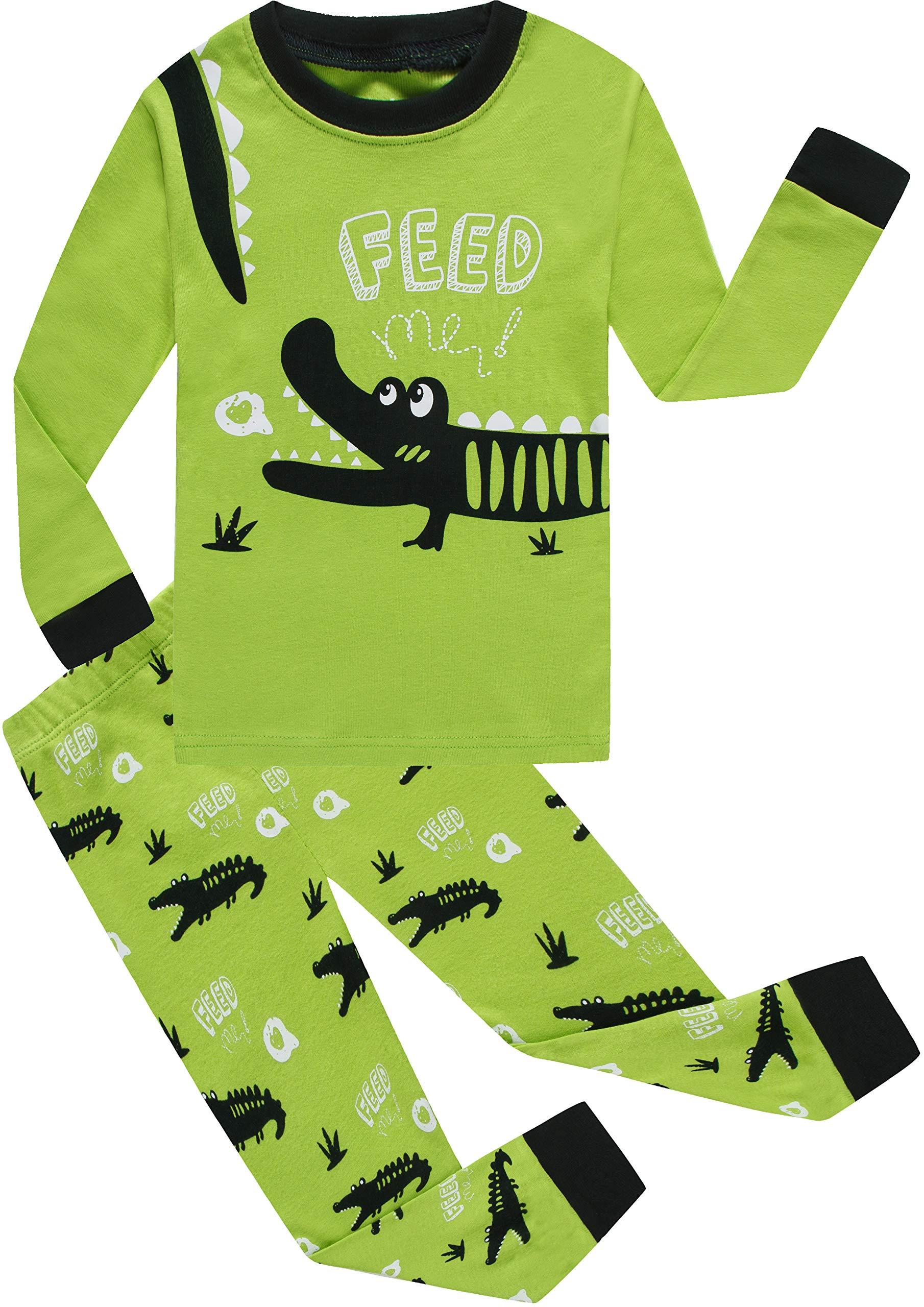 Boys Alligator Pajamas Sets 100% Cotton Pjs Toddler Kids Pj Long Sleeves Sleepwear Size 4t