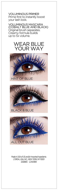 f1bb60334b9 Amazon.com : L'Oreal Paris Makeup Best of Voluminous Mascara Gift Set, Voluminous  Lash Primer, Voluminous Original in Colbalt Blue and Voluminous Original ...
