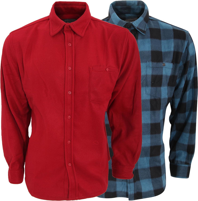 Pack de 2 camisas afelpadas de manga larga Diseño lisa/cuadros hombre caballero (3XL/Azul/Rojo): Amazon.es: Ropa y accesorios