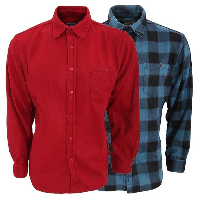 Afelpadas Diseño Larga Camisas 2 Pack Caballero Hombre De Manga Lisacuadros Y7byvfI6g