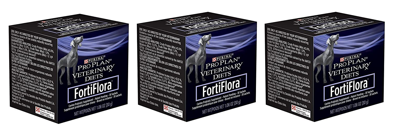 Purina Fortiflora Dog Nutritional Supplement 3 Pack 30 Sachets Each