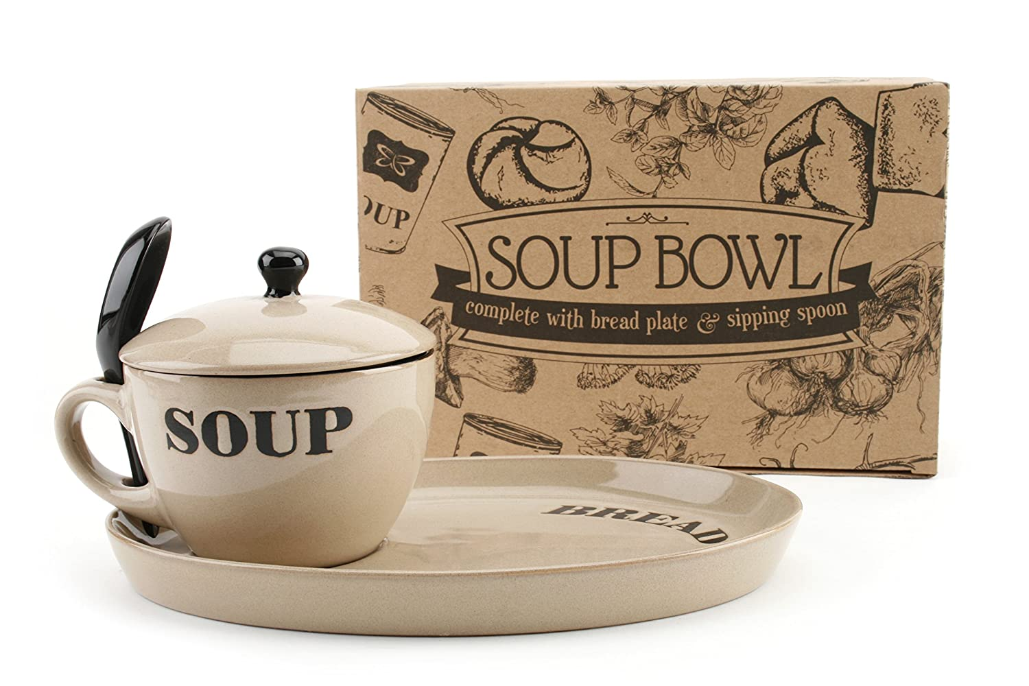 Country Kitchen Soup Bowl and Bread Plate White