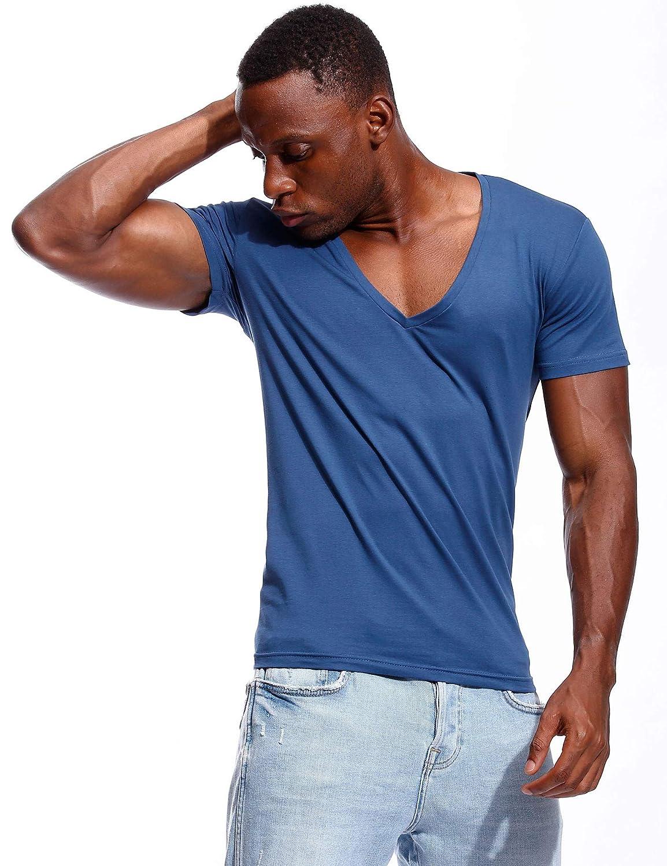 e1759b36 Zbrandy Deep V Neck T Shirt for Men Low Cut Vneck Tee Invisible Tshirt Vee  Top Scoop Hem: Amazon.ca: Clothing & Accessories