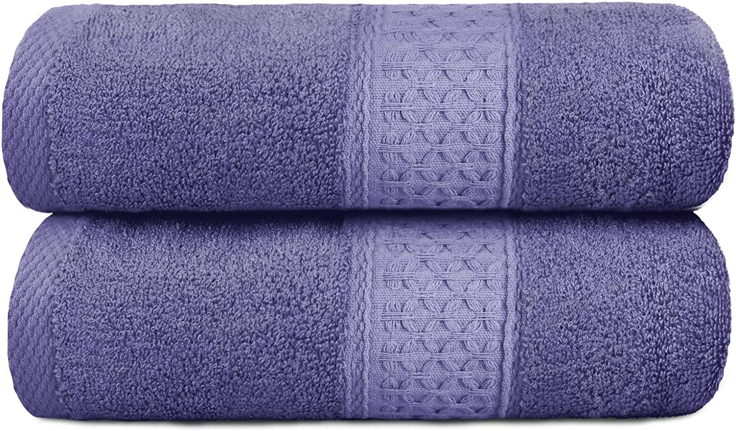 YOOFOSS Bath Towels 100% Organic Cotton Bath Towels Set 28x55 in Large Soft, Plush, Absorbent Towel for Bathroom - Purple: Kitchen & Dining