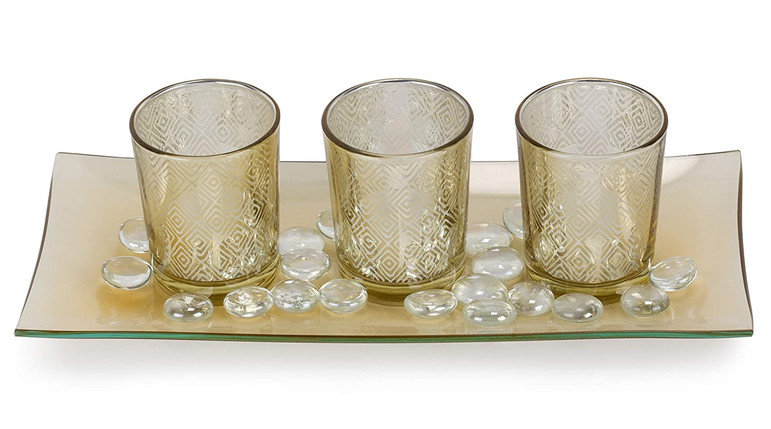 Ornamental Glass Stones /& Glass Tray DHE-735 Dawhud Direct Decorative Glass Candle Holder Set with LED Tealights
