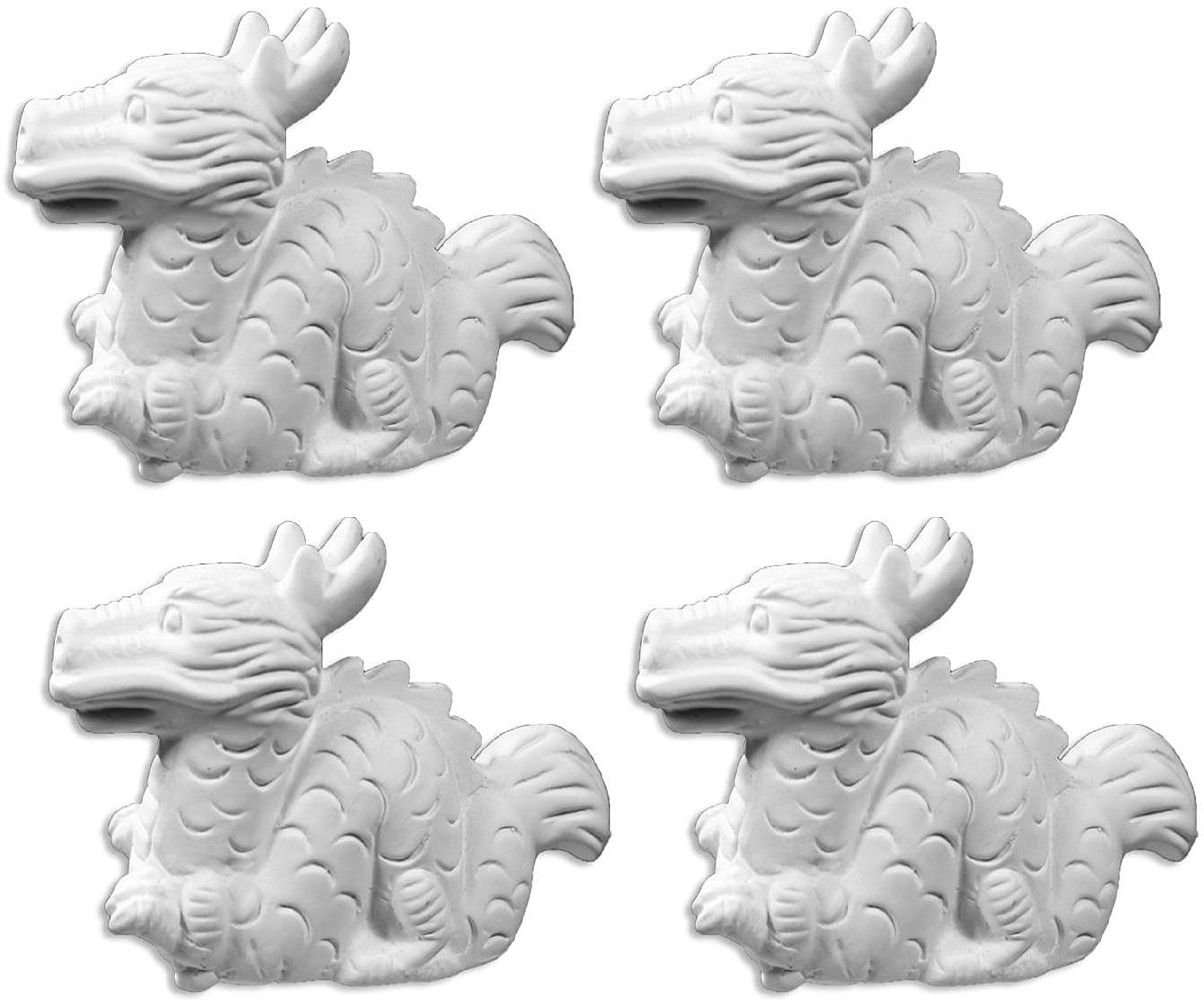 The Lucky Little Chinese Dragon - Set of 4 - Host Your Own Ceramic Painting Party