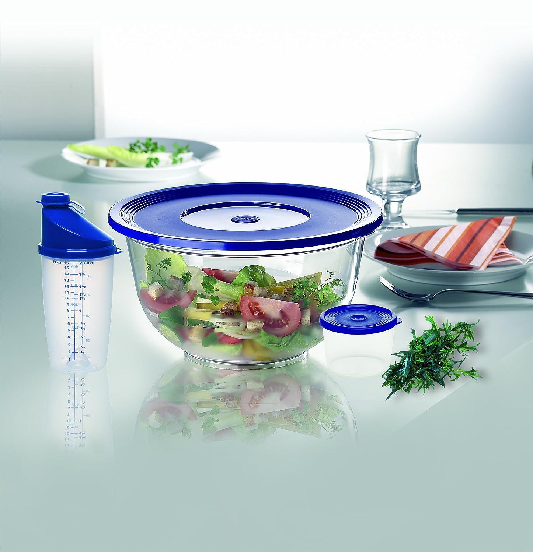 Emsa 214550440 Superline mixing beaker with lockable spout, 0.5 litre, transparent/blue 2145504400