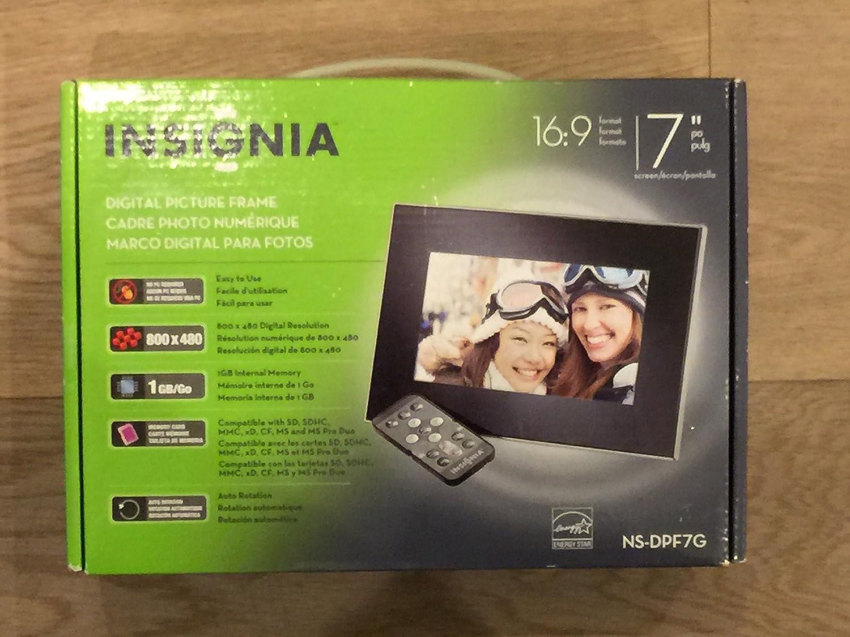 Insignia 17,8 cm Widescreen LCD marco de fotos digital, color negro ...