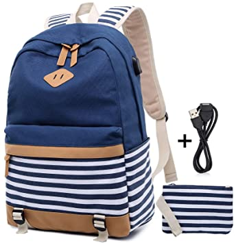 Girls School Backpack Striped Canvas Backpack High School Bag Women Casual College Laptop Backpack Coin Purse