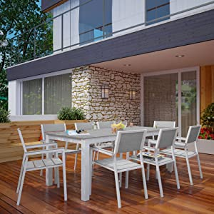Modway Maine 9-Piece Aluminum Dining Table And Chair Outdoor Patio Set in White Light Gray