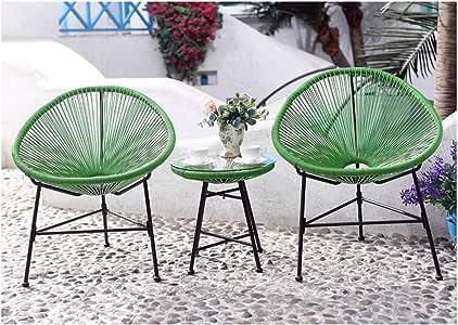 Palmero el-Juego de mesa y sillas de jardín, color verde, 2 sillones huevos de mesa de centro: Amazon.es: Jardín
