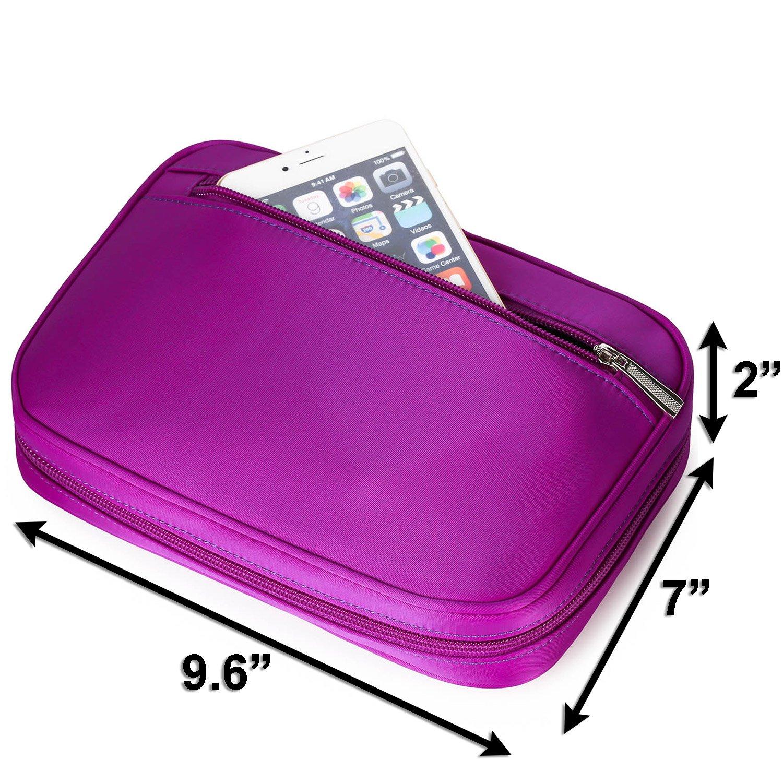 Lily & Drew Travel Jewelry Storage Carrying Case Jewelry Organizer with Removable Pouch (V1 Dark Purple) by Lily & Drew (Image #7)