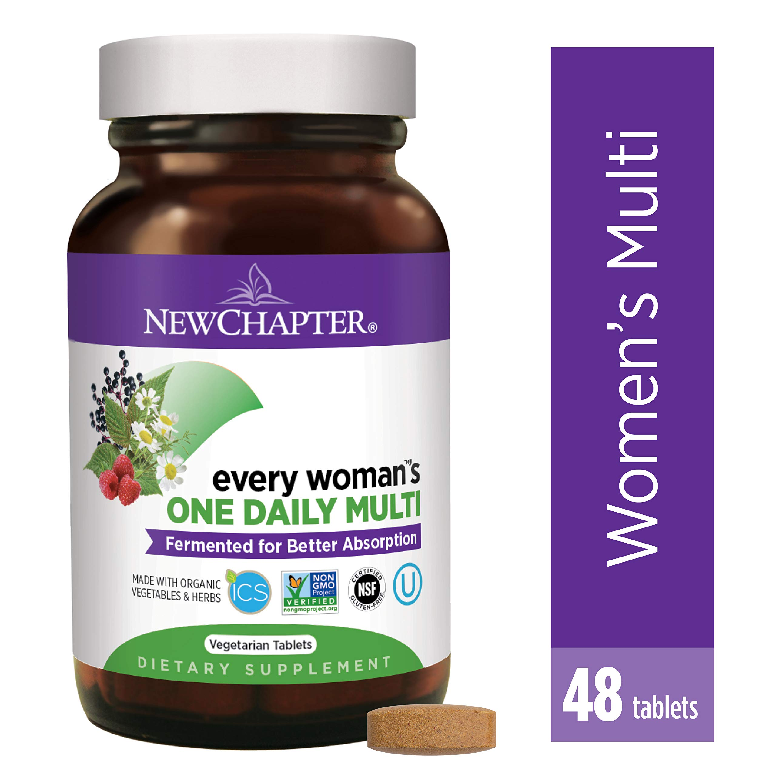 New Chapter Women's Multivitamin, Every Woman's One Daily, Fermented with Probiotics + Iron + B Vitamins + Vitamin D3 + Organic Non-GMO Ingredients - 48 ct (Packaging May Vary) by New Chapter