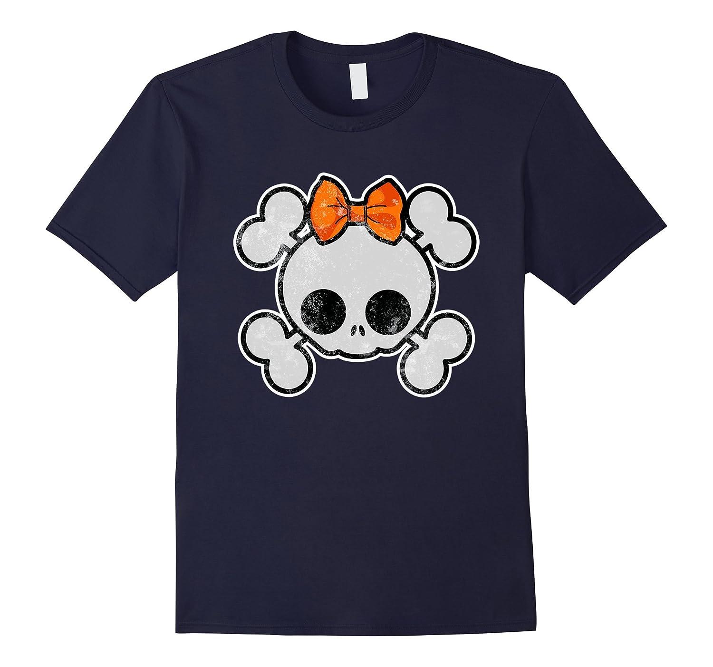 Cute Skull Halloween Distressed Vintage Print Shirt-RT