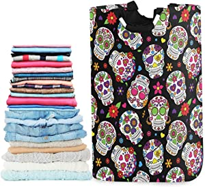 visesunny Collapsible Laundry Basket Sugar Skull Floral Black Large Laundry Hamper Oxford Fabric Dirty Clothes Toy Organizer with Handle for Bathroom Kids Room Dorm
