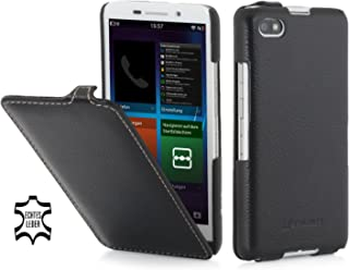 StilGut® UltraSlim Case, Custodia in Pelle con Funzione on/off per Blackberry Z30, Nero