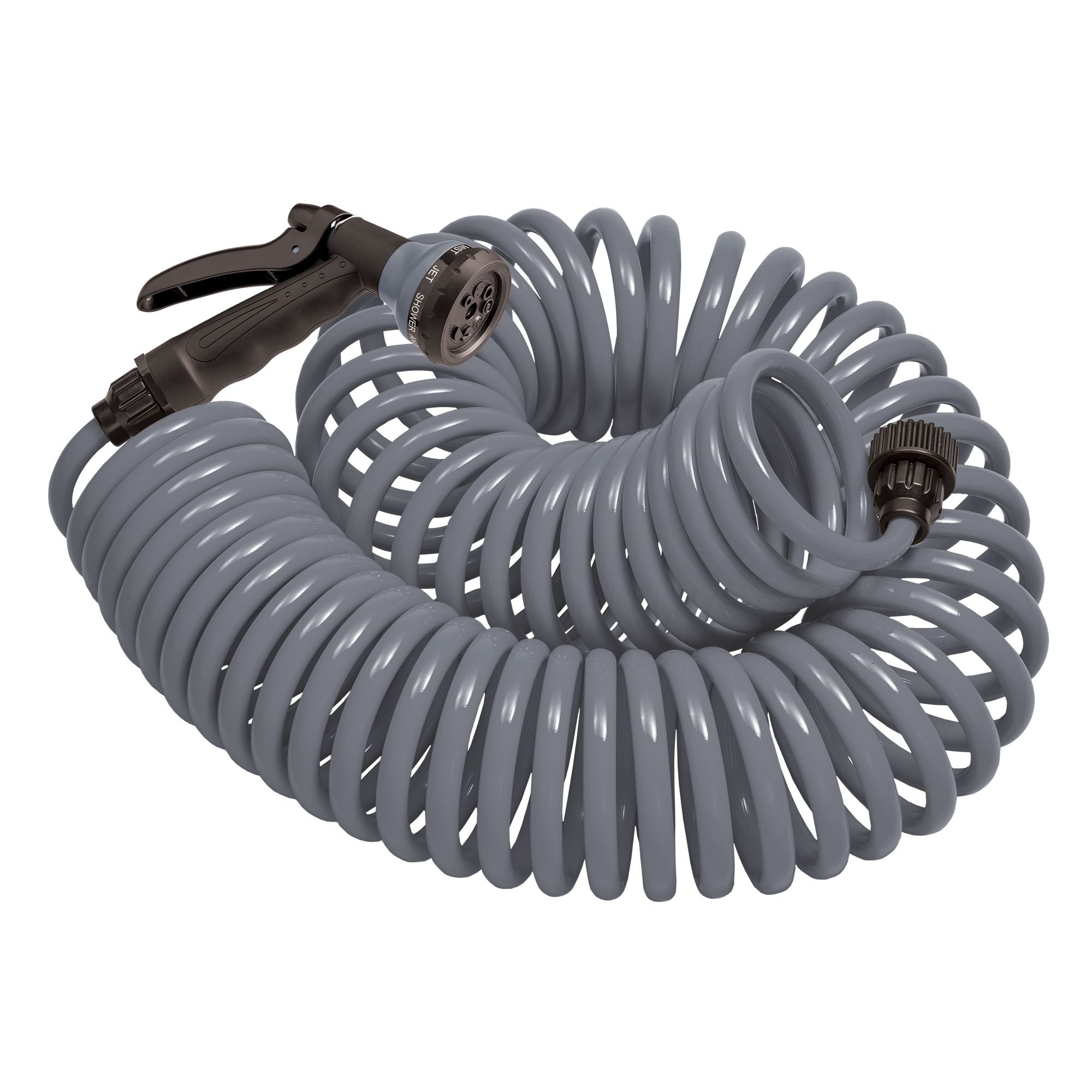 Orbit 27560 50-Foot Coil Hose with Nozzle, Gray